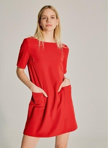 NGSTYLE Essentials - Cep Detaylı Krep Elbise Bordo